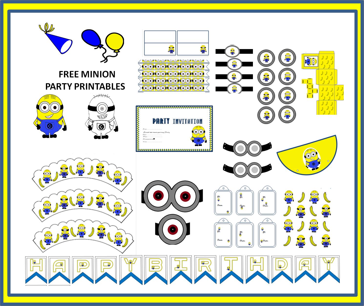 Lots Of Free Minion Party Printable Minion Party Minion Birthday Invitations Minion Party Theme