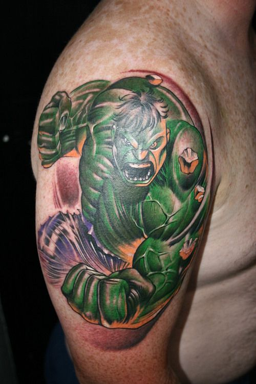 Incredible Sleeve Tattoo: Incredible Hulk Tattoo Smash #hulktattoo #inkrediblehulk