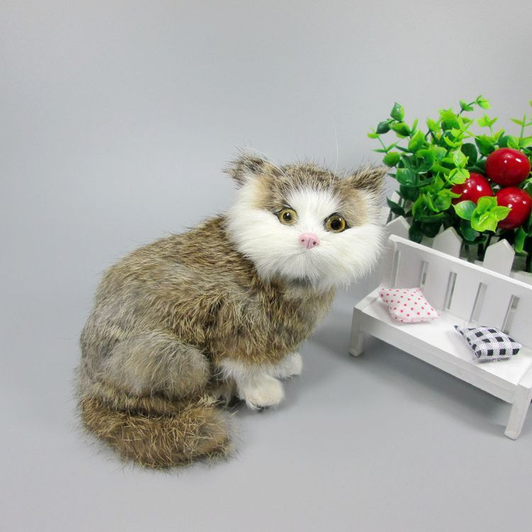 Simulation brown cat polyethylene&furs cat model funny gift about 16cmx12cmx18cm //Price: $US $24.30 & FREE Shipping //     #toyz24