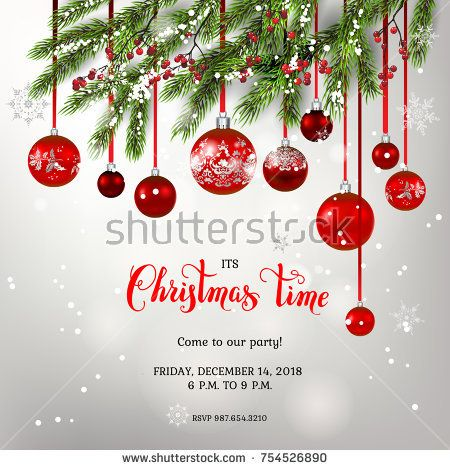 Red Decoration With Fir And Balls Winter Holiday Invitation