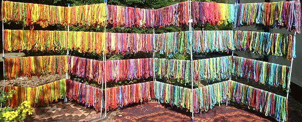 Stitch 45 hand dyed yarns in Malvern. Di's lovely fabrics.