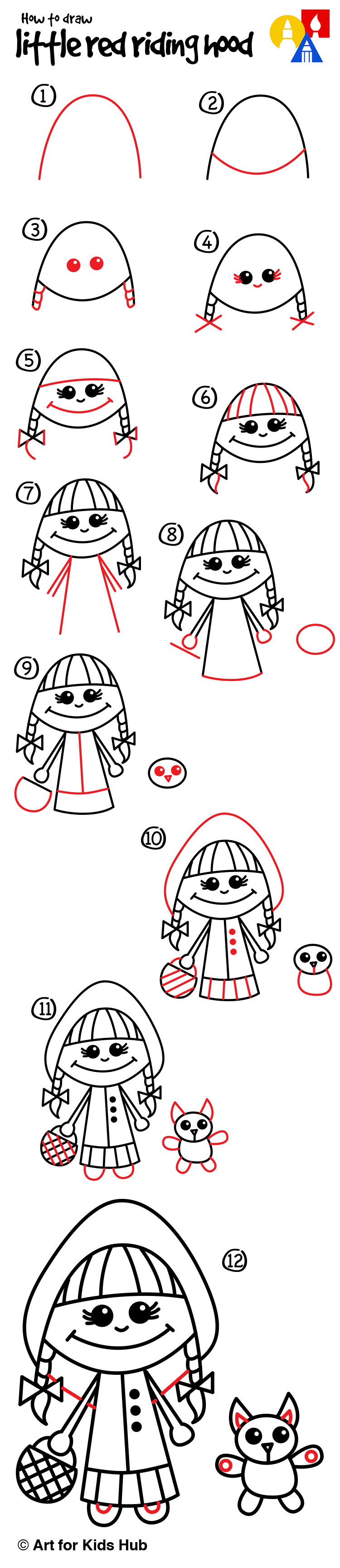 How To Draw Little Red Riding Hood - Art For Kids Hub ...