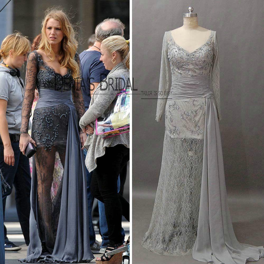 Real Image V-neck long sleeve gossip girl Dress Black Lively see ...