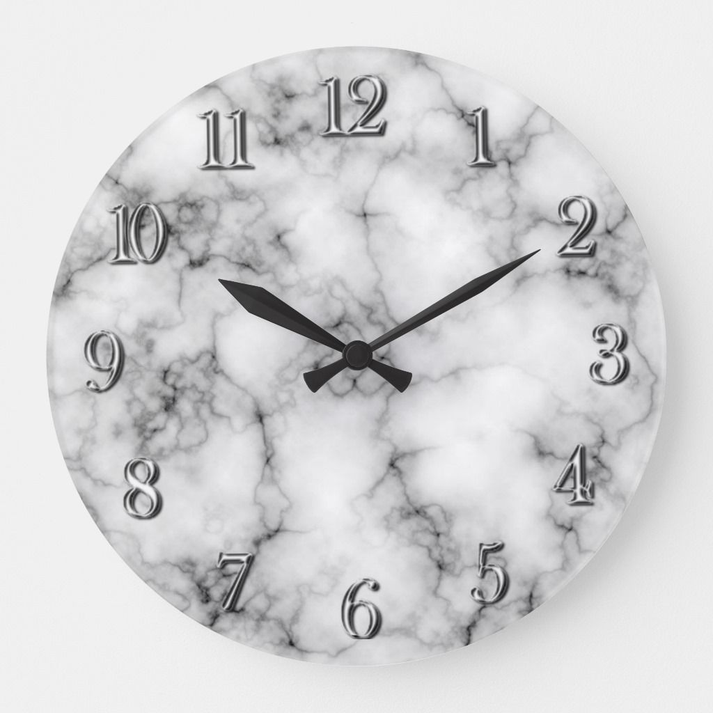 Very Realistic White Marble Pattern Large Clock Zazzle Com In 2020 Large Clock Clock Marble Pattern
