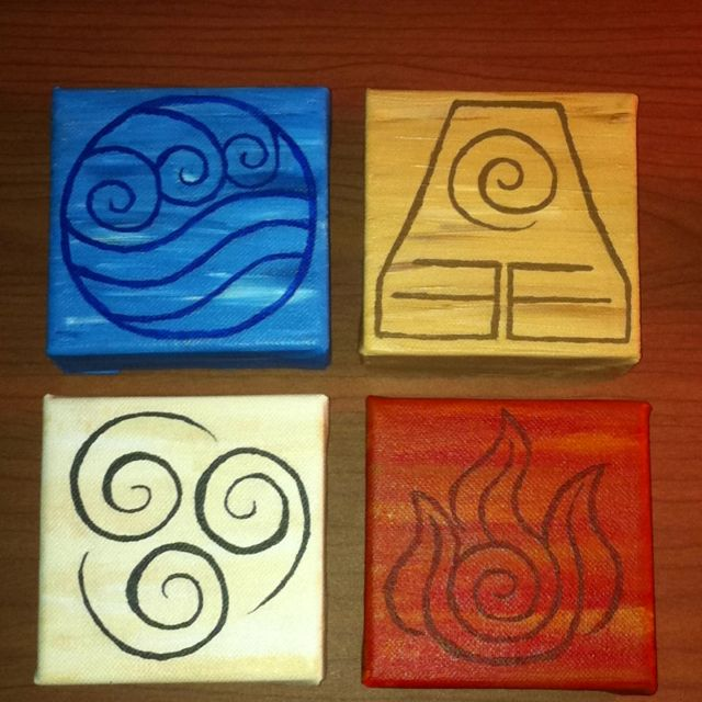 From the animated Avatar: The Last Airbender series, (that I love) I finally got around to painting the symbols!:)