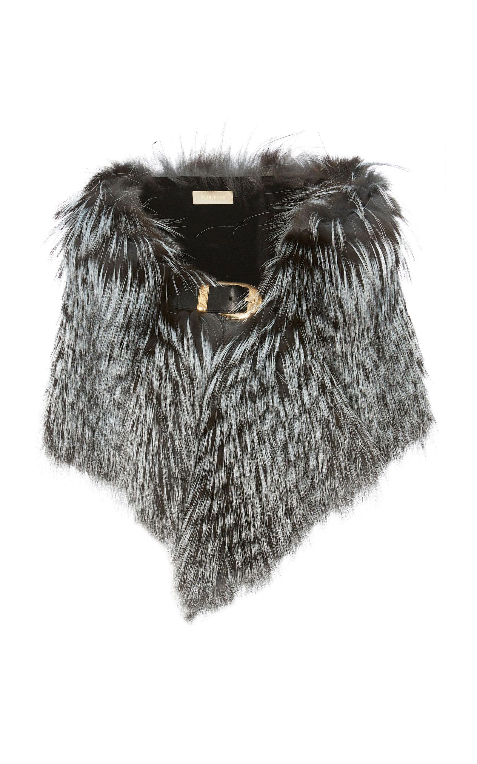 Leather-Trimmed Fur Stole Elie Saab HZS9fS