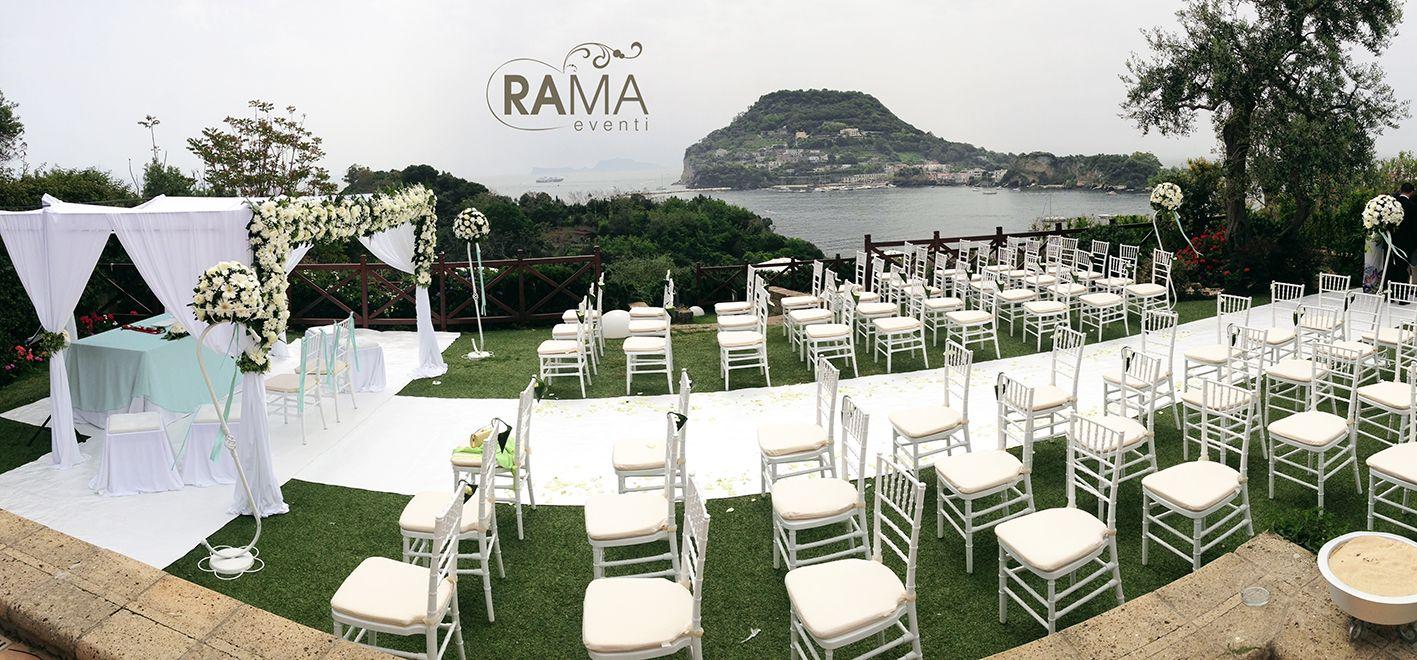 Allestimento a cura di RamaEventi di Cerimonia Nuziale all'aperto presso Villa Mirabilis (Bacoli - Na)