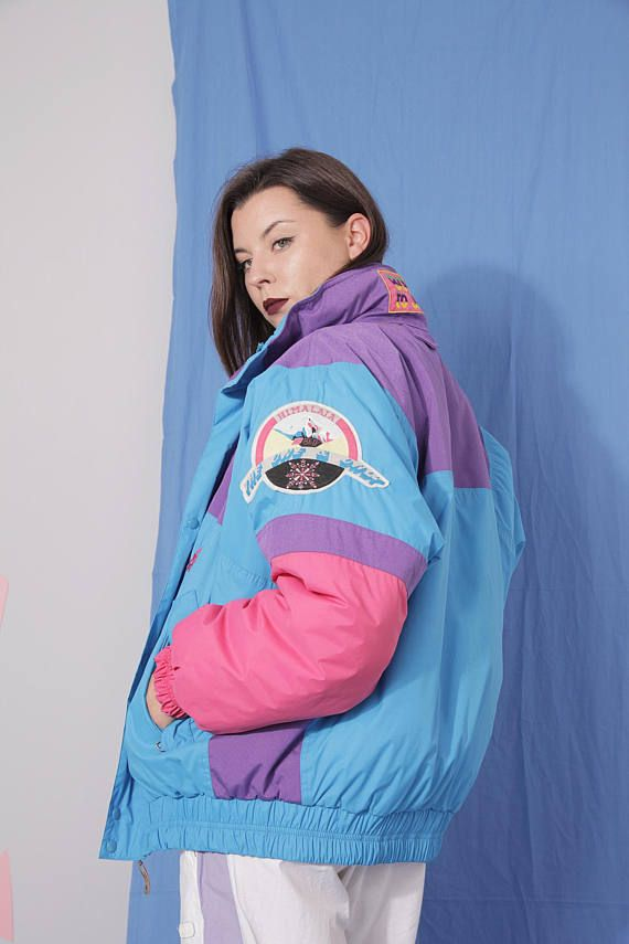 Oversized Skiing Ski Vintage 80s-90s 14-Zip Sweatshirt with colorful print