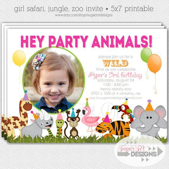 zoo birthday party invitation, safari invitation, jungle themed, Birthday invitations