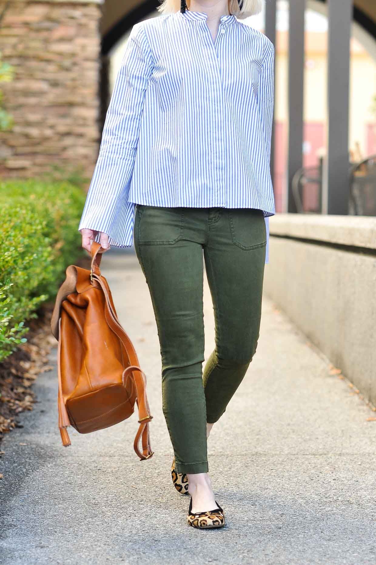 749c9ee819ba Cathy dresses up a casual favorite and shows How To Style J.Crew Green  Cargo Pants with pretty blue stripes and leopard flats for spring!