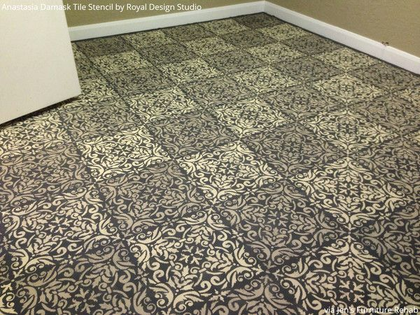 Diy Tile Floor how to install a tile floor in a kitchen Tile Stencils Transform Rooms From Floor To Ceiling 17 Diy Ideas