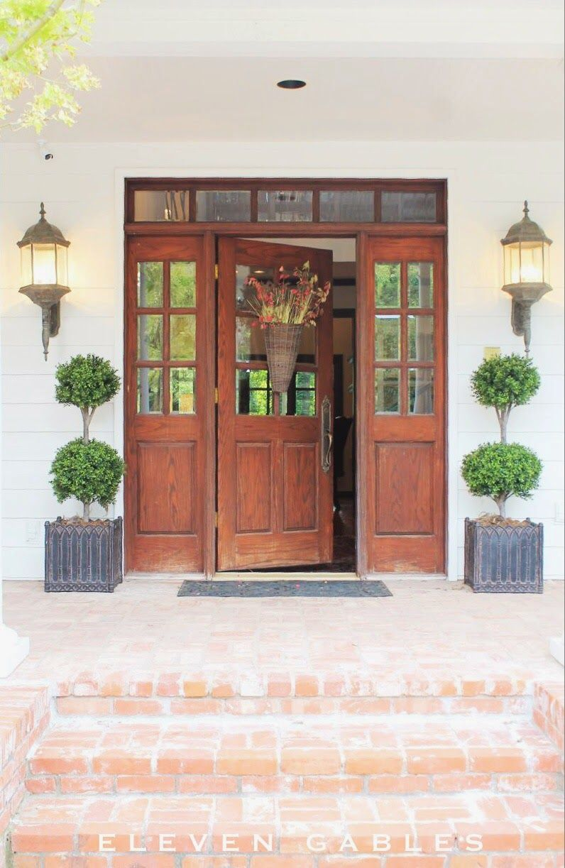 Front Door With Source To Buy These Gorgeous Faux Topiaries Source