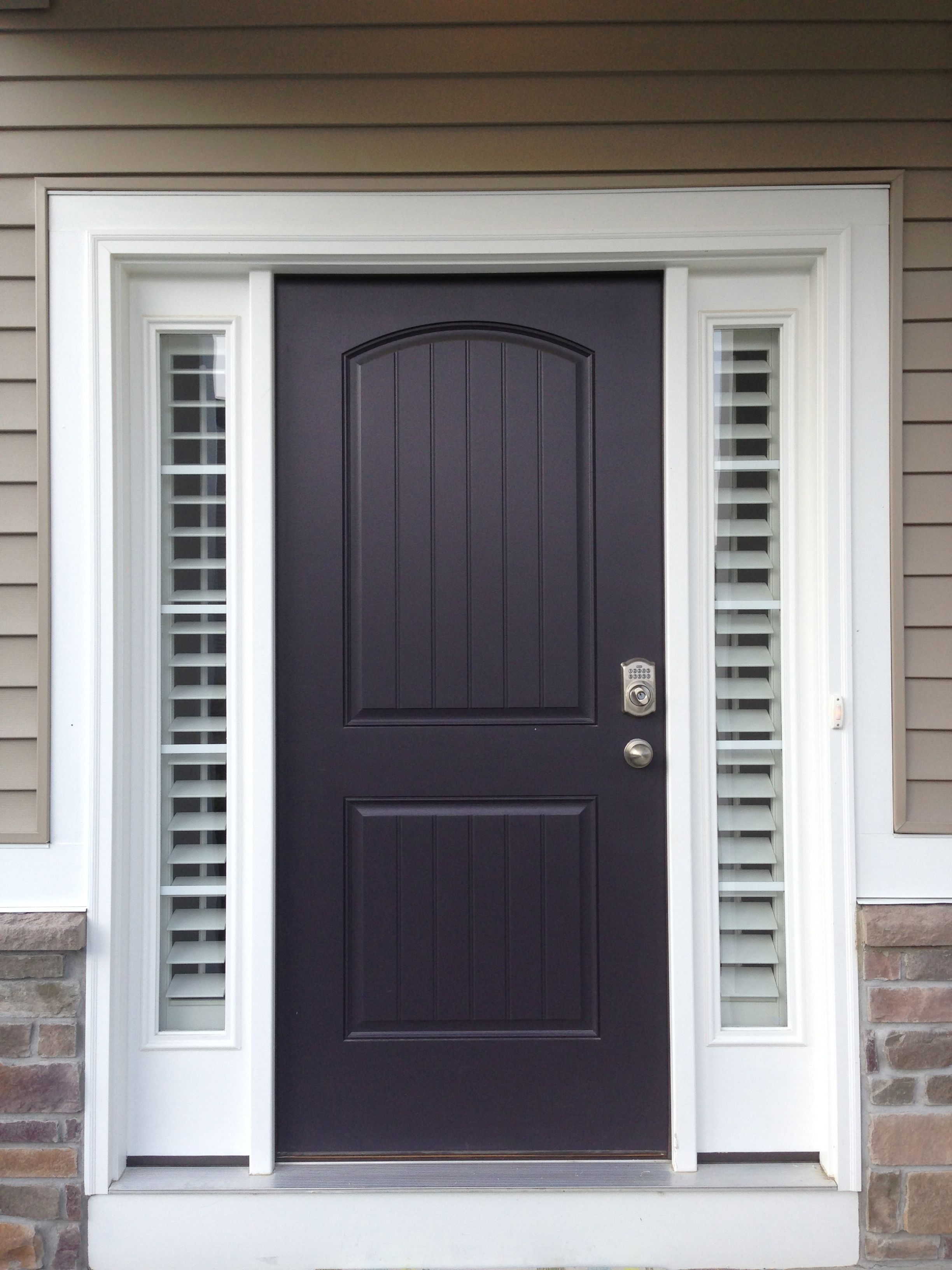 Entry door sidelight window shutters sunburst shutters for Front window ideas
