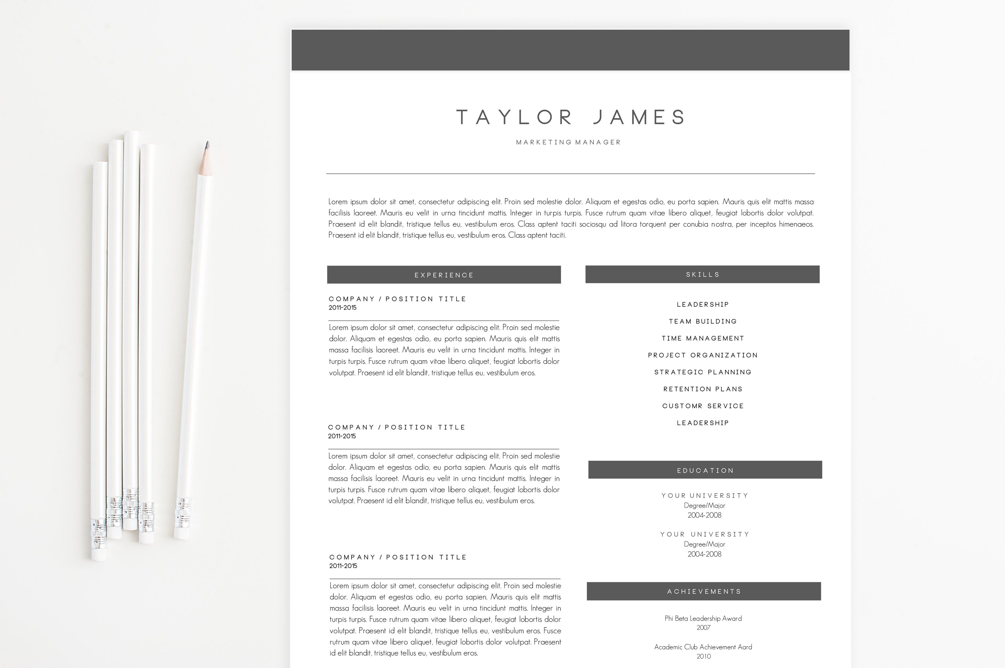 Simple Modern Resume Template by on Creative
