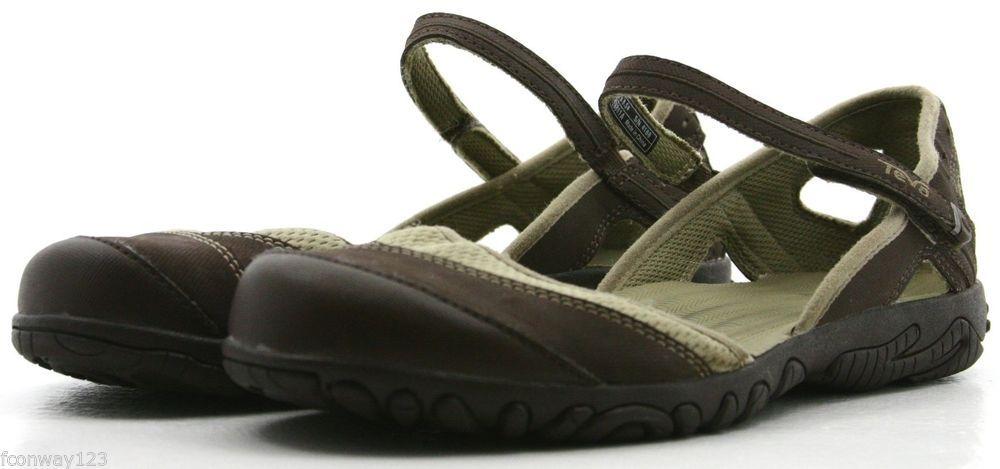 a7059c2077ecb3 Teva Westwater Womens Sandals Size 8.5 Brown Tan Nylon Ankle Strap Sandal  EUC