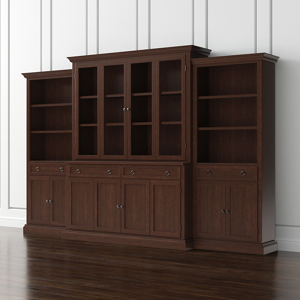 Shop cameo 4 piece modular aretina walnut glass door wall unit media console hutch with glass doors modular left and right storage bookcases