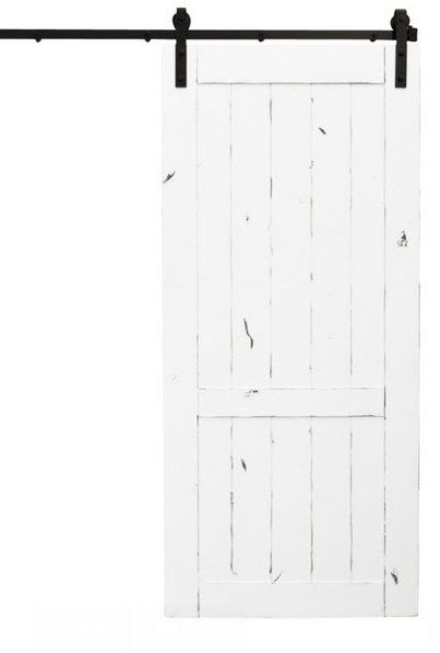 Farmhouse Distressed White Sliding Barn Door More Stains And Paint Finishes Available Create Your Ow Barn Doors Sliding Interior Sliding Barn Doors Barn Door