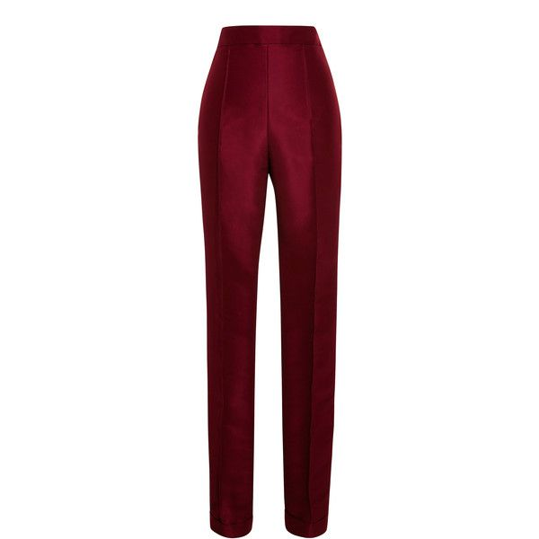 Rosie Assoulin Cuffed Silk-Faille Cigarette Pants (3.445 BRL) ❤ liked on  Polyvore