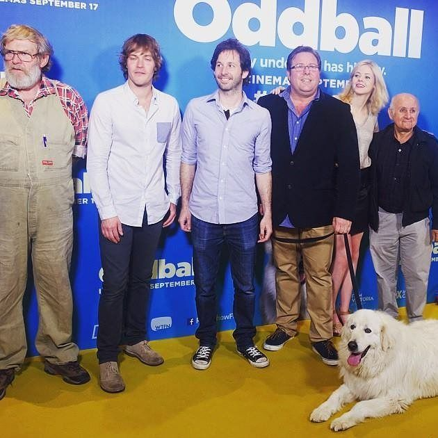 That's a far cry from the chicken farm! Man of the hour and inspiration for Oddball Swampy Marsh joins the cast at the Victorian premiere. Don't miss his story in #Oddball in cinemas now! #Warnambool #MaremmaDogs #SwampyMarsh #ShaneJacobson by roadshowfilms