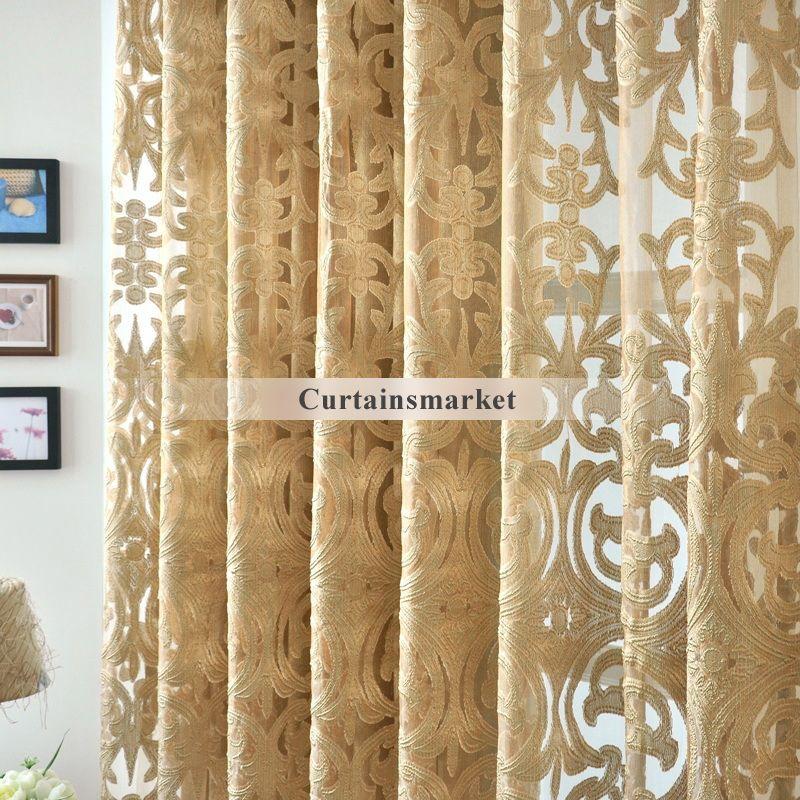 Beautiful Yarn Patterned Semi Dark Gold Sheer Curtains Gold