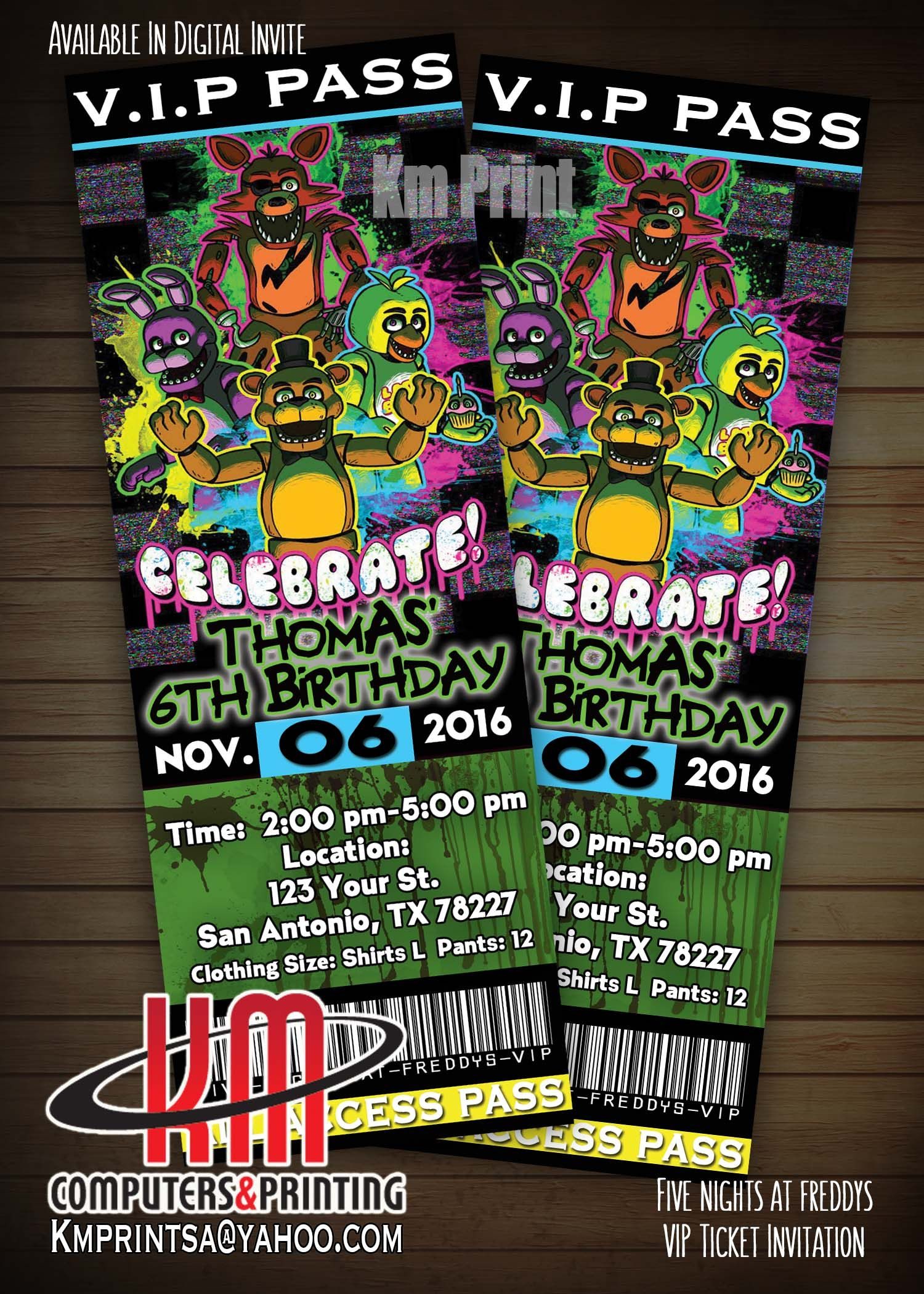 5 Nights At Freddys Party Invitation VIP Ticket 25 For Or Digital U Print 10 Kmprintsayahoo