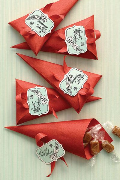 Home Made Gift Ideas Paper Cones Christmas Sweet Treat Bags For