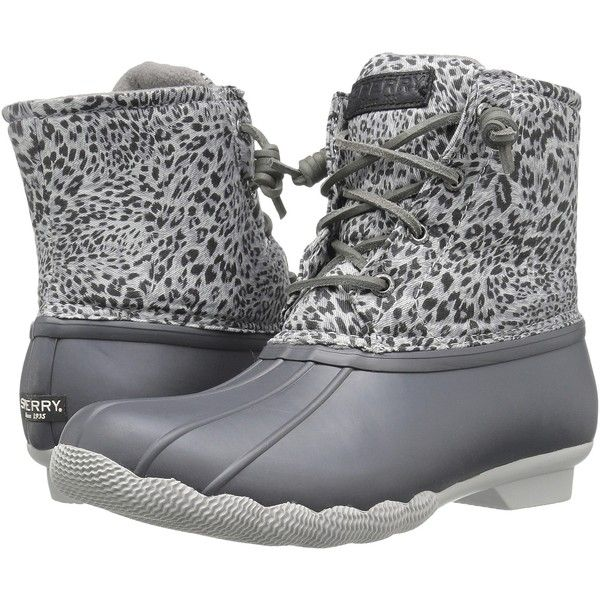 Sperry Saltwater Prints (Dark Grey/Cheetah) Women's Rain Boots ($73) ❤  liked on Polyvore featuring shoes, boots, ankle boots, grey, zip ankle boots,  rubber ...