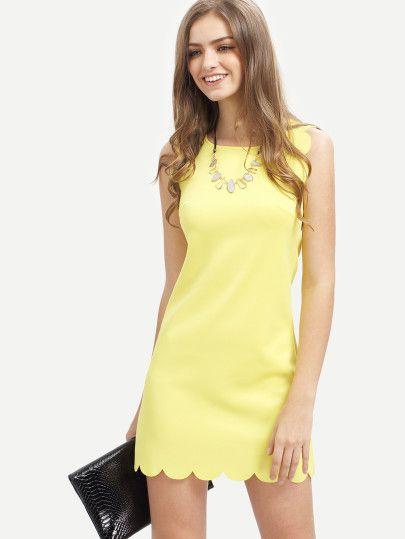 9ce7b330b1a Vestido escote redondo sin manga -amarillo | REGALOS IDEAS en 2019 ...