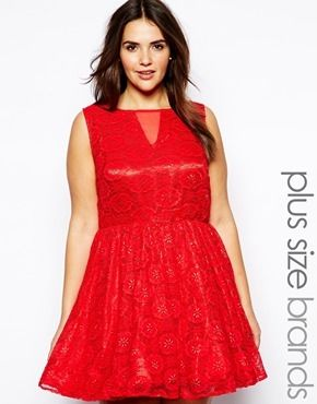 AX Paris Plus Size Lace Mesh Skater Dress - red | stylin ...