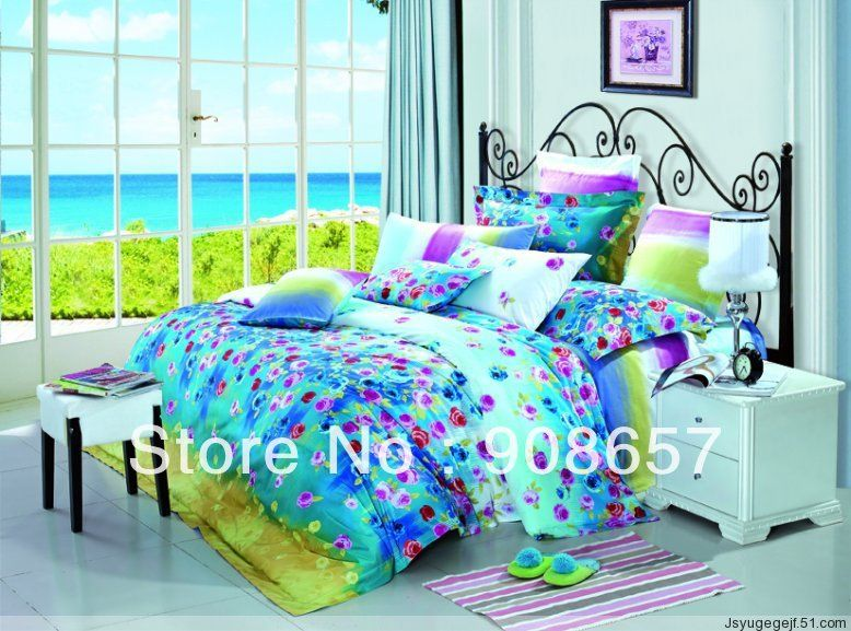 500 thread count purple floral printed aqua color queen full girl s bedding  set cotton bed. 500 thread count purple floral printed aqua color queen full