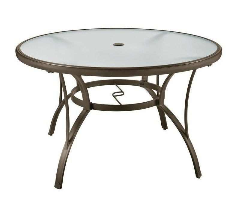 Details About Aluminum Brown Round Patio Dining Table Textured