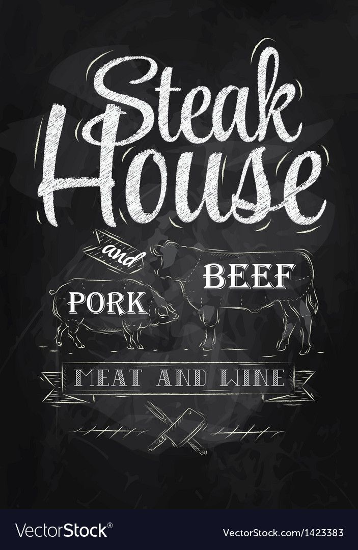 Poster Steak House chalk Royalty Free Vector Image , AFF
