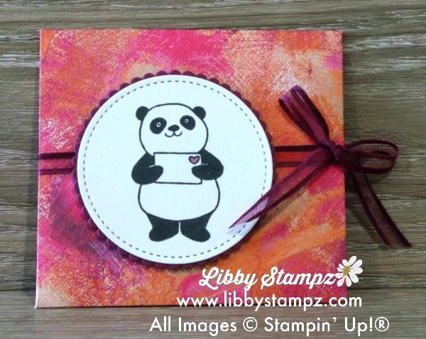 "Party Panda Gift Card Holder (Video). Uses Oarty Panda stamp set; Painted With Love Specialty DSP; Stitched Shapes Framelits & Layering Circles Framelits Dies. Rich Razzleberry and Whisper White. Stampin' Blends use to colour 1/4"" Whisper White Organza Ribbon"
