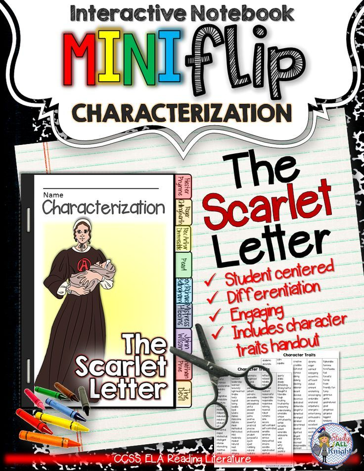 the scarlet letter: interactive notebook characterization mini
