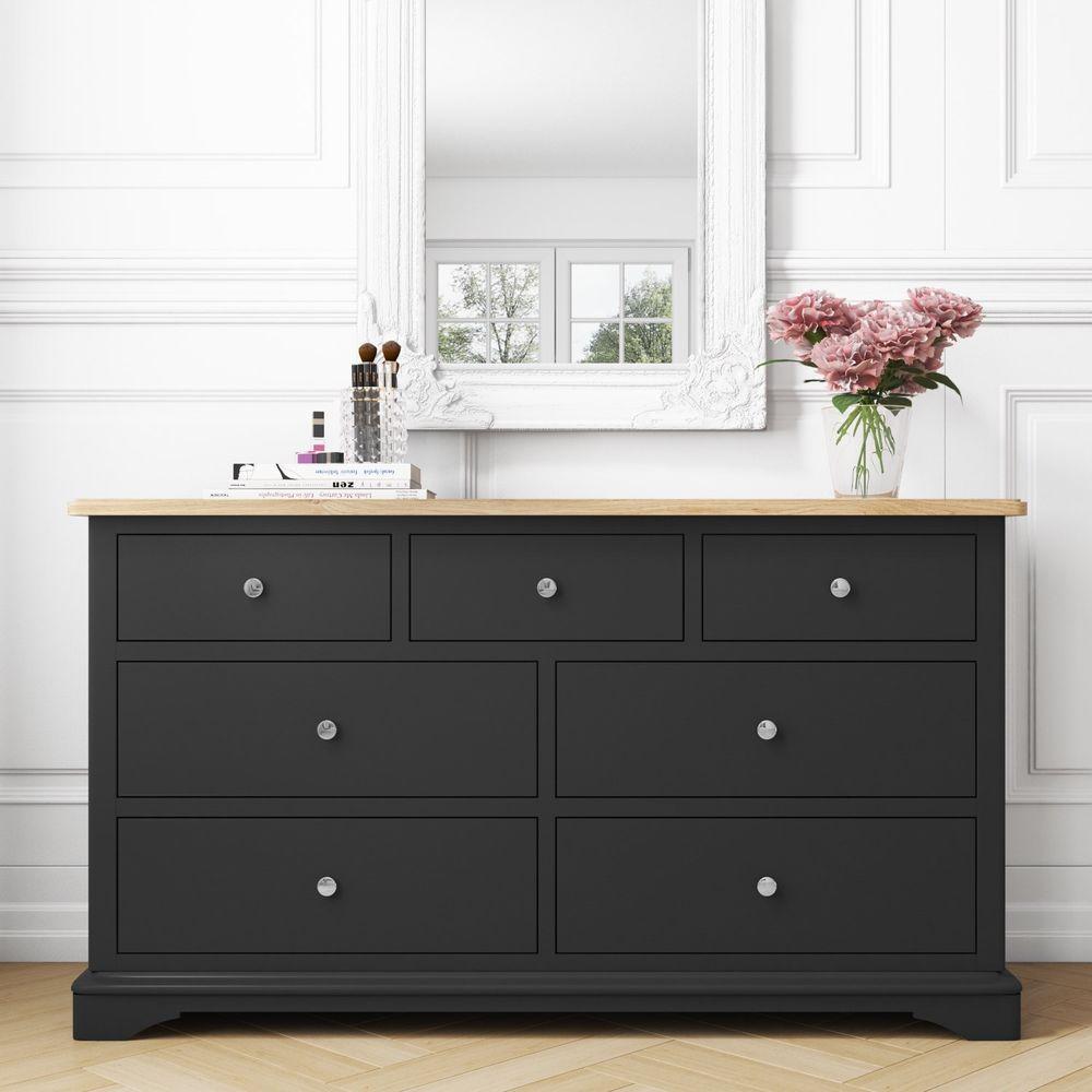 7 drawer chest storage cabinet washed oak matt grey finish bedroom furniture