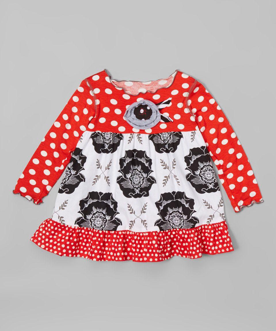 Love this White & Black Flower Babydoll Top - Infant, Toddler & Girls by Mis-Tee-V-Us on #zulily! #zulilyfinds
