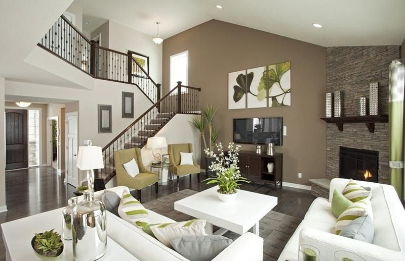Note How The Brown Accent Wall In This Open Concept Living Room Helps To Define E And Orient Viewer