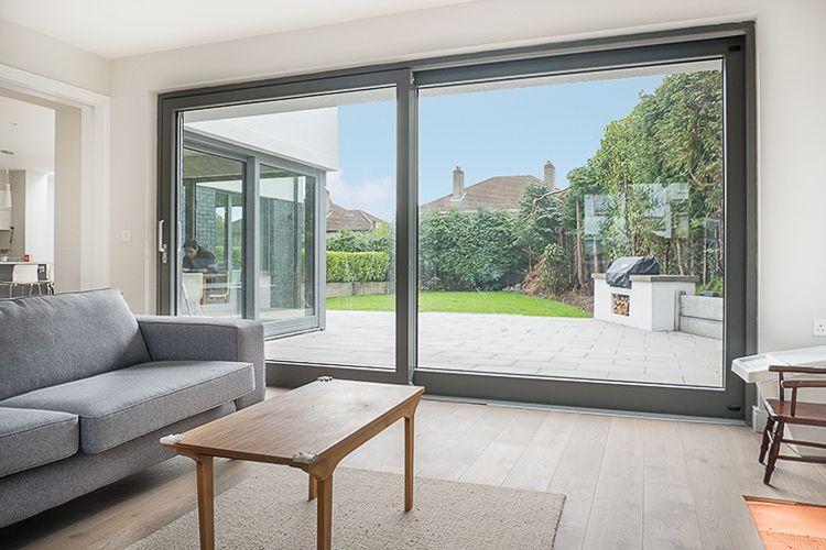 Dust Grey Ral 7037 Aluminium Clad Wood Lift Slide Door With Pine Wood Interior Contemporary Windows Sliding Doors Exterior Windows And Doors