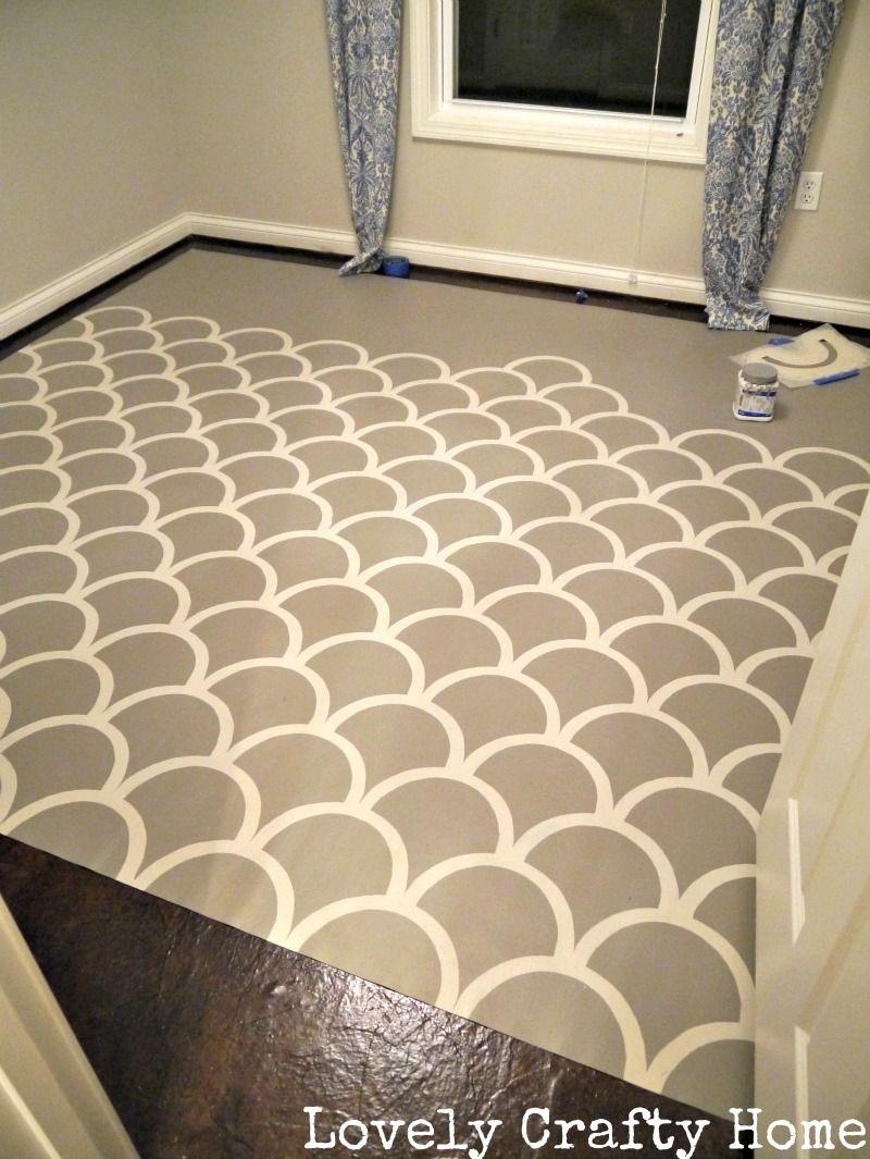 Stenciled vinyl floor tutorial great way to bring in color or painted vinyl floors dailygadgetfo Choice Image