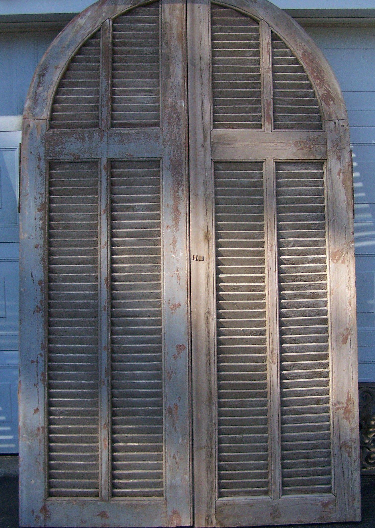 Antique Arched Door Two Panel Rustic Shutter Door Tall Salvage Mediterranean Door Original Heavy Chippy Paint Rustic Shutters Mediterranean Doors Arched Doors