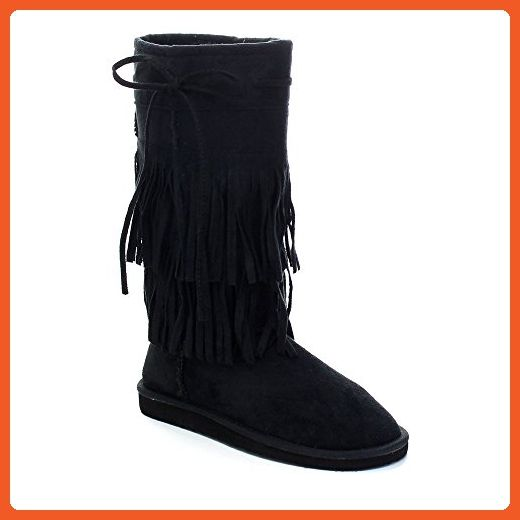 Aling 82 Womens Stylish Mid Calf 2 Layer Fringe Flat Boots Black