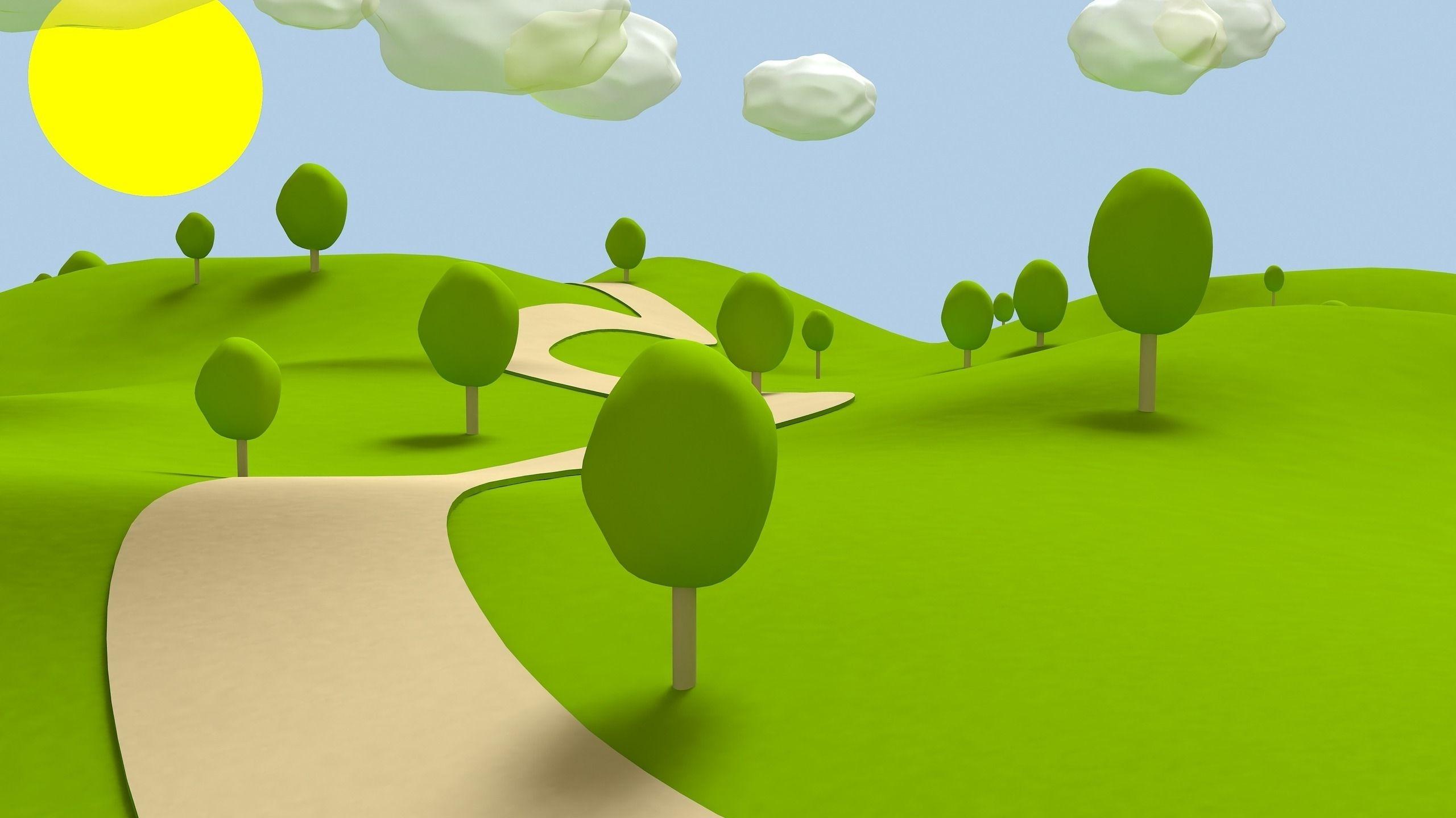 cartoon 2d backgrounds park | 2560x1440 Green Garden ...