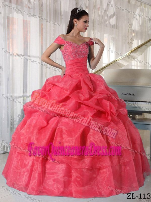 03bc6ba1e2 Special Off The Shoulder Beaded Organza Quinceanera Dress with Pick ...