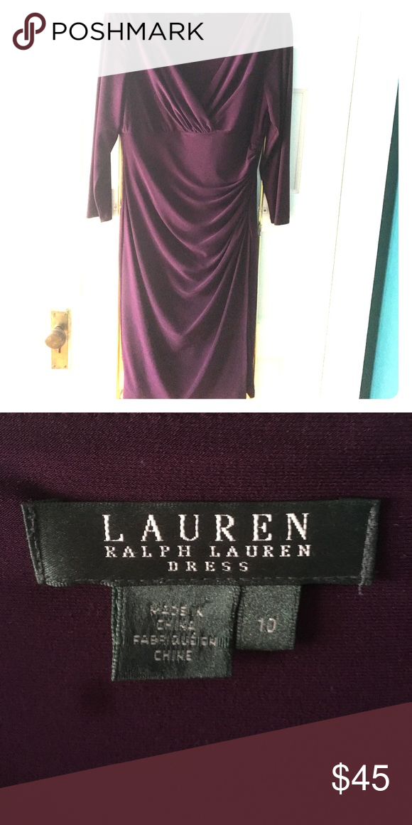 Ruched dress Gorgeous eggplant purple ruched dress: v-neck, 3/4 quarter length sleeves (bought it for pregnancy/never worn) Ralph Lauren Dresses Midi