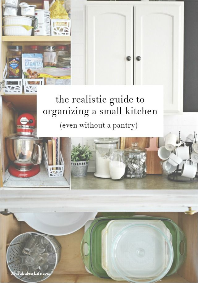 realistic ways to organize a small kitchen without a pantry blogger home projects we love. Black Bedroom Furniture Sets. Home Design Ideas