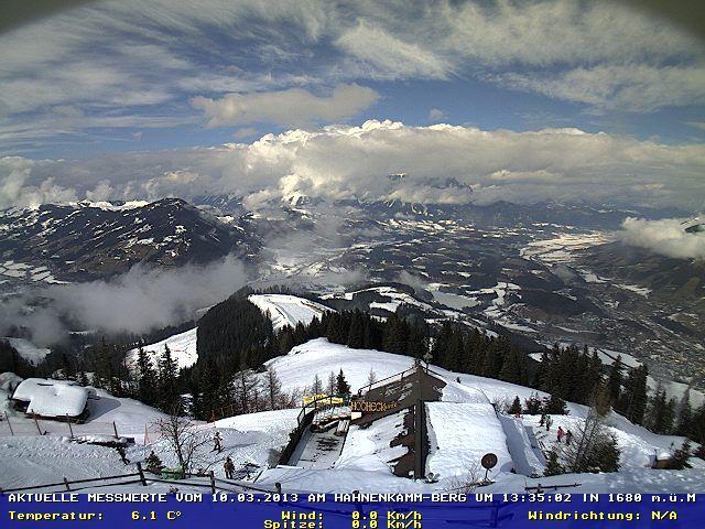 Blick vom Hahnenkamm zum Wilden Kaiser, Kitzbuhel Skiweather.eu