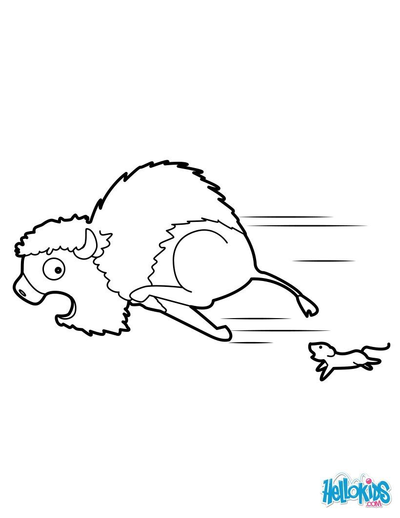 Frightened Bison coloring page. More Forest Animals coloring sheets ...