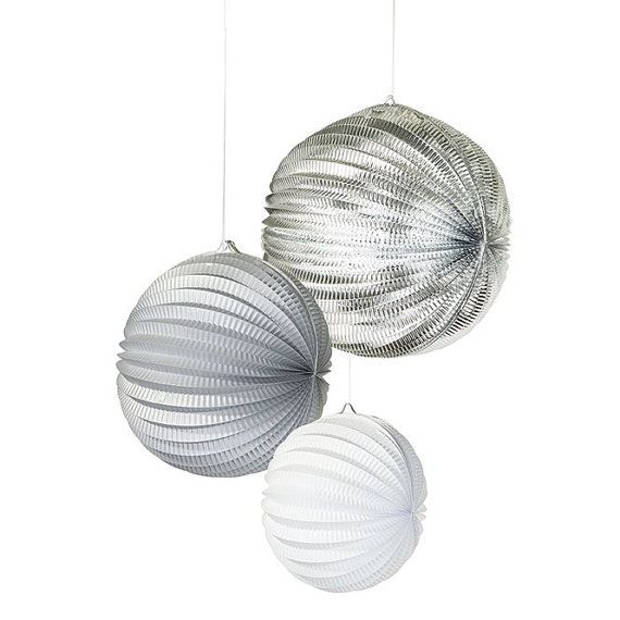 Stunning accordion foil finish paper lanterns will brighten up any occasion whether it be a Wedding, Birthday or even a festive celebration.   :::::::::::::::::::::::::::::::::::::::::::::::::::::::::::::::::::::::::::::::::::::::::::::::::  ☆ The Design:  This trendy silver hanging paper lantern is a perfect addition to add height to any occasion. Simply fold open, tie the ribbon and hang anywhere to delight your guests.  You will receive One 12, One 10 and One 8 Lantern  Team with other…