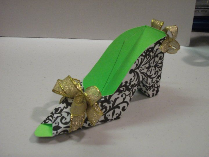 Damask black and lime green PAPER shoe.