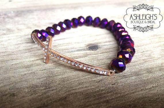 Sideways Cross Bracelet, Magenta Jewelry With Cross Bracelet